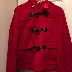 Bright cherry red swing pea coat Nautica